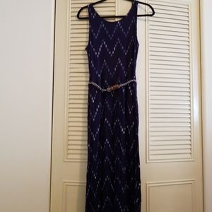 Blue & White Maxi Dress Pockets Belt